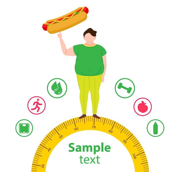Conceito de perda de peso homem gordo e magro