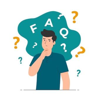 Conceito de perguntas frequentes com ilustração de homem confuso