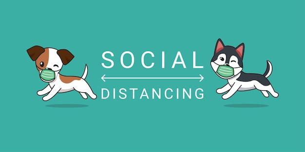 Conceito de personagem de desenho animado jack russell terrier e cão husky siberiano usando máscara protetora de rosto distanciamento social