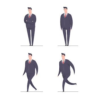 Conceito de personagem empresário ilustração definir personagens poses em pé, correr, andar