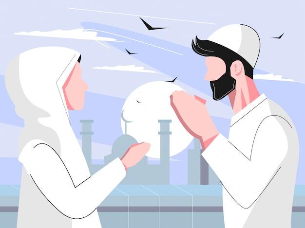 Conceito de personagem plana ramadhan com homem e mulher perdoar