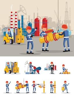 Conceito de personagens da indústria de petróleo