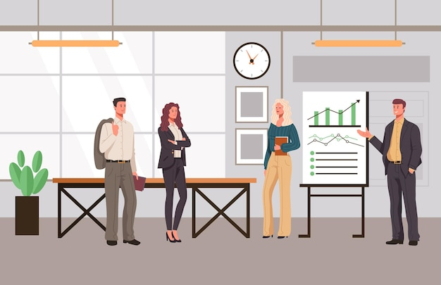Conceito de personagens de trabalhadores de escritório de pessoas de apresentação de escritório.