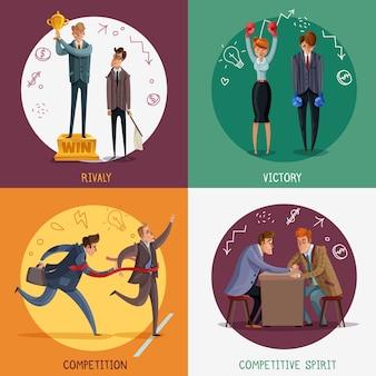 Conceito de personagens do investidor vencedor de negócios perdedor com pessoas de estilo doodle e desenho pictogramas com texto