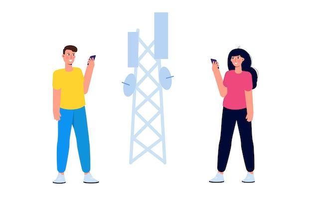 Conceito de personagens pequenos de tecnologia sem fio de rede 5g. ilustração vetorial.