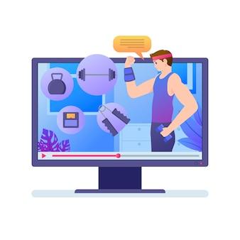 Conceito de personal trainer on-line