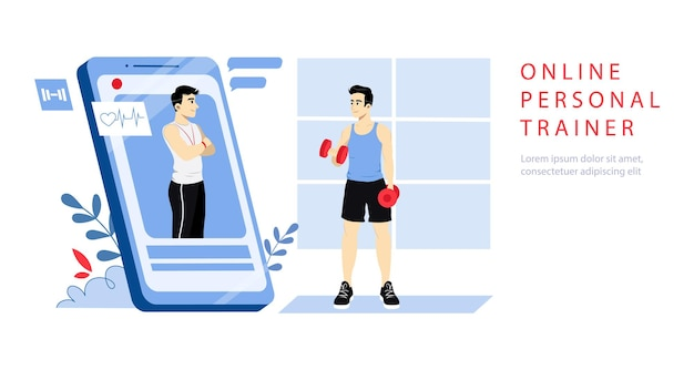 Conceito de personal trainer online. página inicial do site.