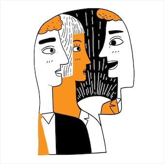 Conceito de personalidade, ilustrações de uma pessoa na silhueta da cabeça de uma pessoa.