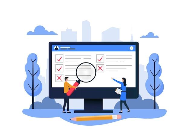 Conceito de pesquisa com teste de qualidade e relatório de satisfação. feedback de clientes ou formulário de opinião.