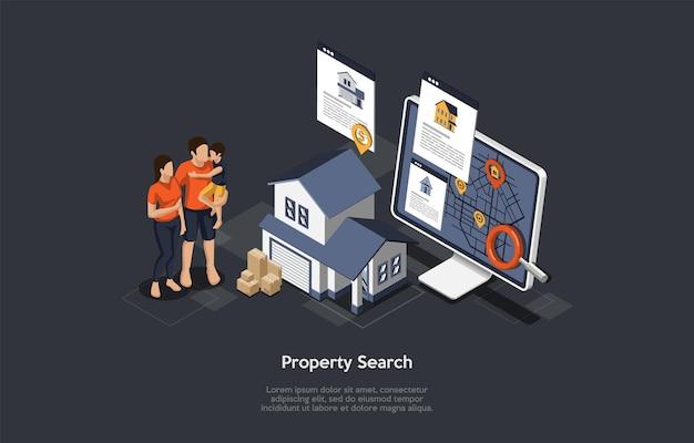 Conceito de pesquisa de bens imobiliários.