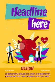 Conceito de pesquisa de doenças cardíacas. pequeno cardiologista estudando modelo de grande coração entre drogas e diagrama de batimentos cardíacos