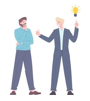 Conceito de pesquisa de ideia. o jovem encontrou uma solução para o problema. trabalhadores de escritório discutindo o processo de trabalho. ilustração em vetor plana.