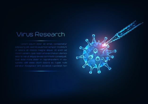 Conceito de pesquisa de infecção viral. célula de vírus da gripe poli baixa brilhante futurista e pipeta médica.