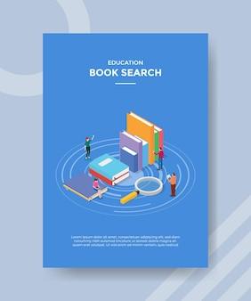 Conceito de pesquisa de livro para banner e folheto de modelo