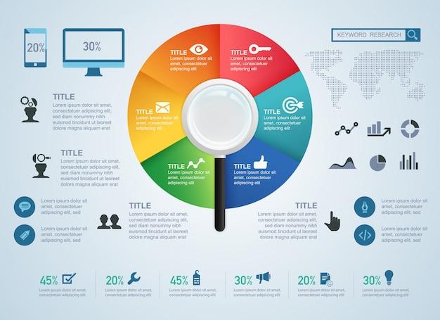 Conceito de pesquisa de palavra-chave e elemento para infográfico