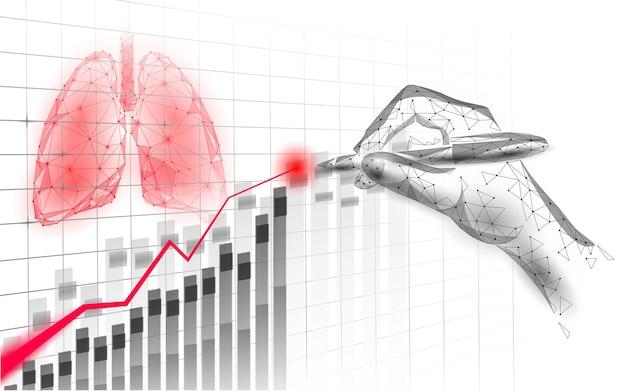 Conceito de pesquisa gráfico de medicina de pulmão humano em 3d