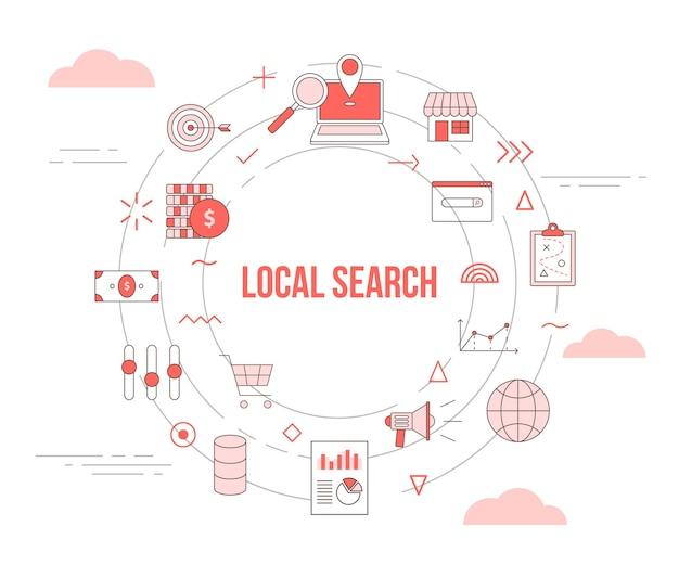 Conceito de pesquisa local com conjunto de banner de modelo com formato redondo de círculo