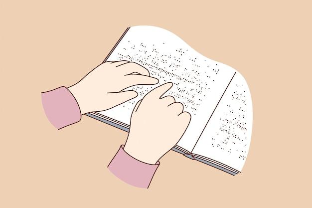 Conceito de pessoas cegas lendo livros