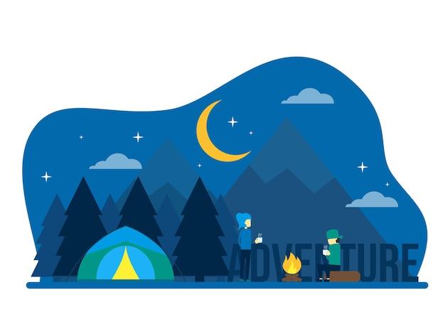 Conceito de pessoas de acampamento de aventura de noite