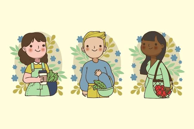 Conceito de pessoas de estilo de vida verde