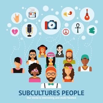Conceito de pessoas de subculturas