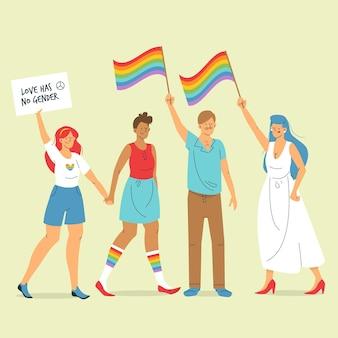 Conceito de pessoas do dia do orgulho