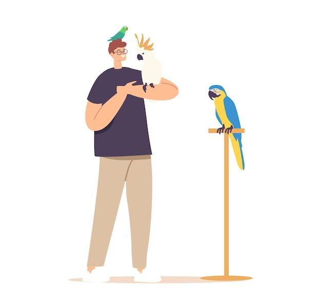 Conceito de pessoas e animais exóticos. jovem personagem masculino com diferentes papagaios, isolados no fundo branco. proprietário passa tempo com pássaros tropicais, sentado nas mãos e na cabeça. ilustração em vetor de desenho animado