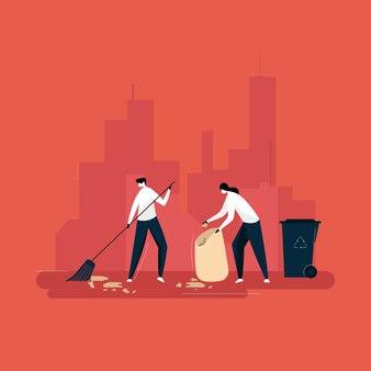 Conceito de pessoas limpando e coletando lixo, proteção ecológica