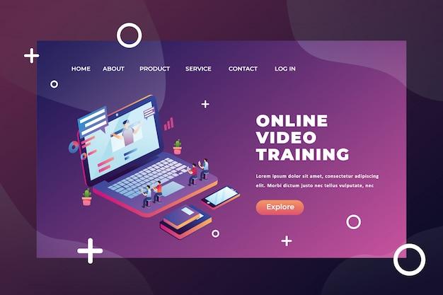 Conceito de pessoas minúsculas estudando na página de destino do treinamento em vídeo on-line