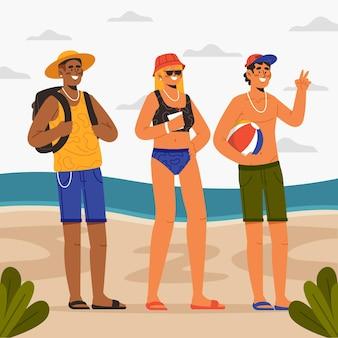 Conceito de pessoas praia