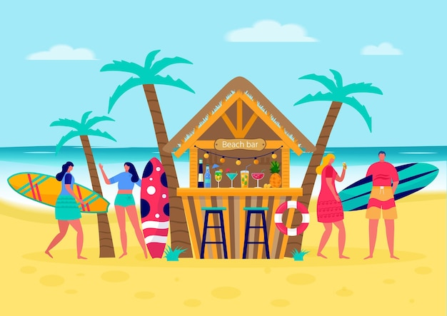 Conceito de pessoas surfando com pranchas de surf. mulheres jovens e homens curtindo férias no mar, oceano, bar da praia. conceito de esportes de verão e atividades de lazer ao ar livre, caminhadas. vetor plano