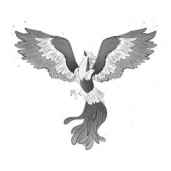 Conceito de phoenix mão desenhada