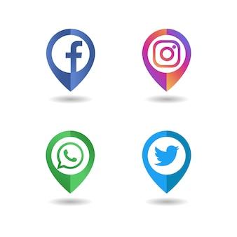 Conceito de pino de ícone de logotipo de mídia social