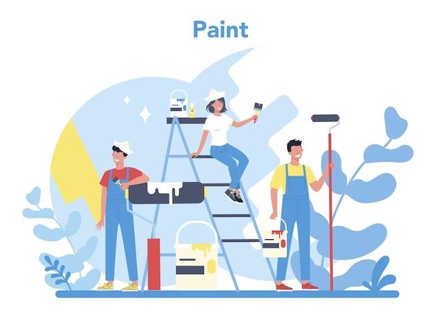 Conceito de pintura de parede de casa