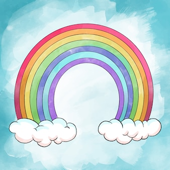 Conceito de pintura em aquarela de arco-íris