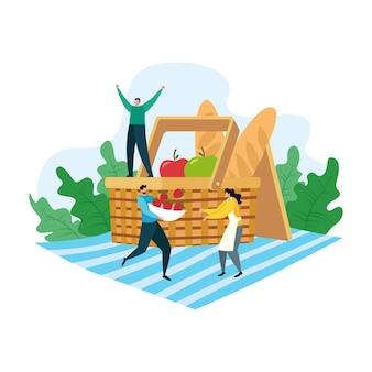 Conceito de piquenique de desenho animado, pessoas felizes na ilustração de atividades de recreação de verão