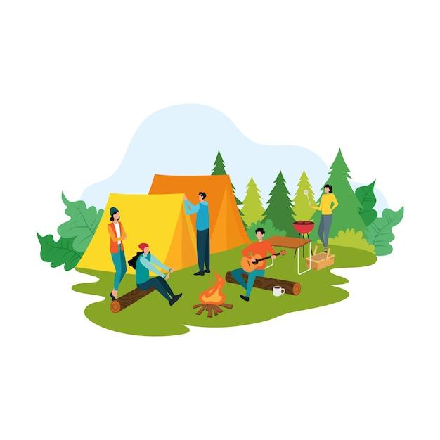 Conceito de piquenique de desenho animado, pessoas felizes na ilustração de atividades de recreação de verão Vetor Premium