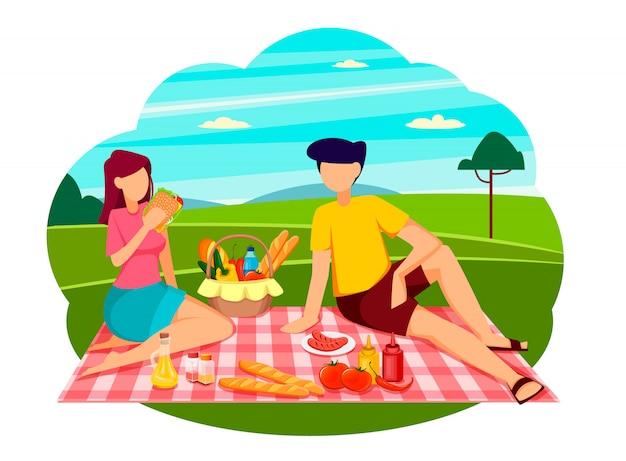 Conceito de piquenique de verão, casal romântico