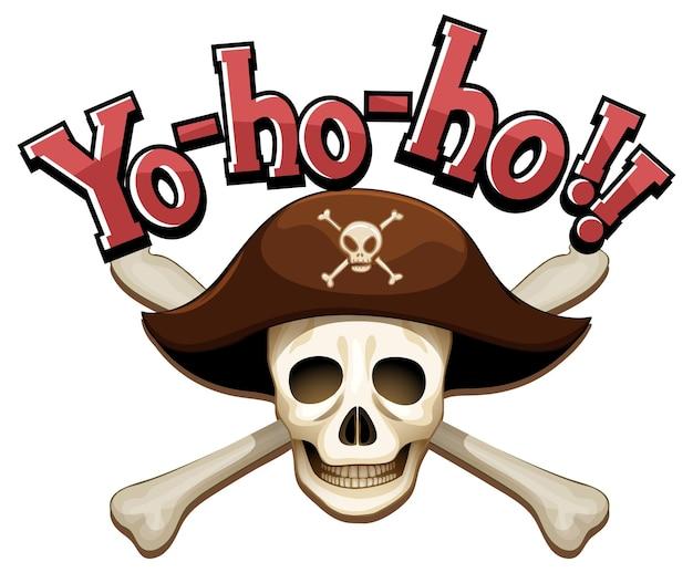 Conceito de pirata com banner com a palavra yo-ho-ho e ossos cruzados de caveira
