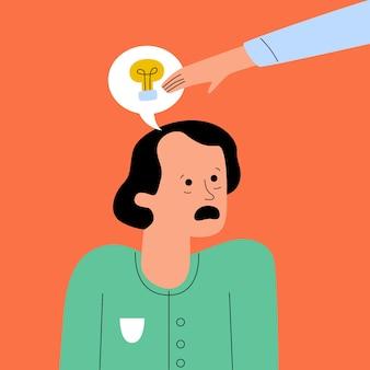 Conceito de plágio ilustrado com homem tendo sua idéia roubada