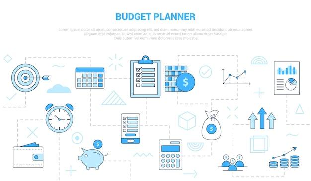 Conceito de planejador de orçamento com conjunto de ícones de banner