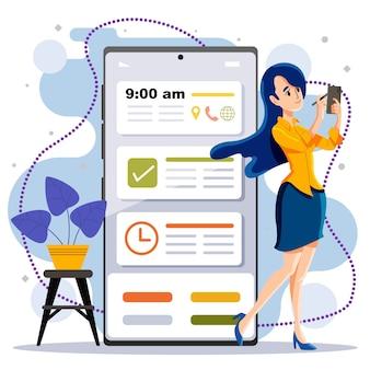 Conceito de planejamento de agendamento e nomeação