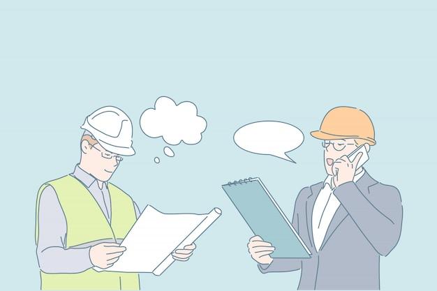 Conceito de planejamento de discussão de projeto de trabalho de engenheiro