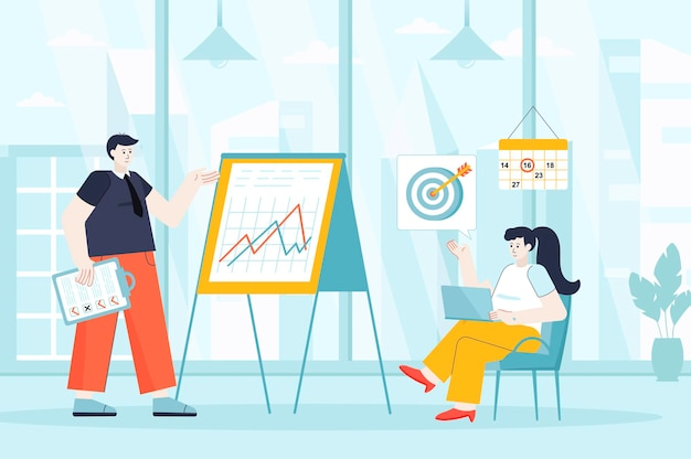 Conceito de planejamento de negócios em ilustração de design plano de personagens de pessoas para a página de destino