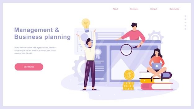 Conceito de planejamento de negócios. ideia de análise e gestão