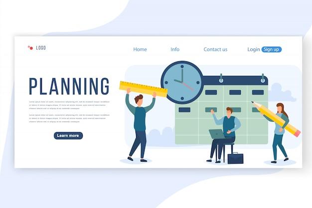 Conceito de planejamento de pessoas. um grupo de personagens que as pessoas estão desenvolvendo um plano. estratégia de gerenciamento de projetos e relatórios financeiros. pode usar para web banner, infográficos, imagens de herói. ilustração.