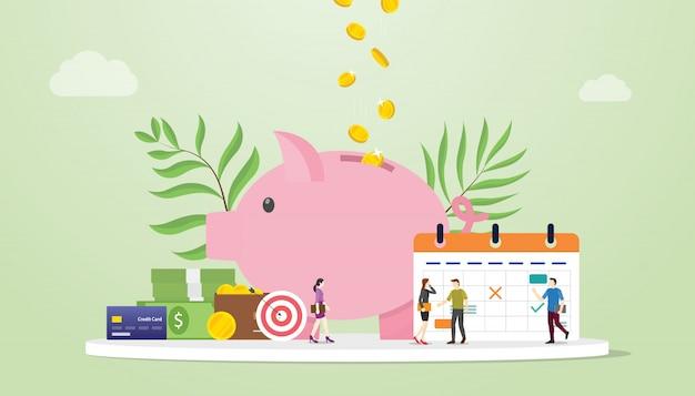 Conceito de planejamento orçamento mensal com economia piggy e calendário com as pessoas da equipe