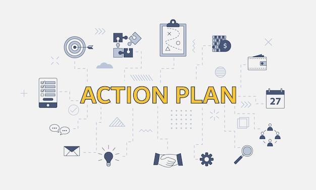 Conceito de plano de ação empresarial com conjunto de ícones com grande palavra ou texto na ilustração vetorial central