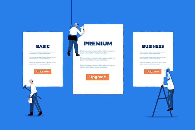 Conceito de plano de assinatura de preços de design plano com equipes pintando uma grande tabela de preços