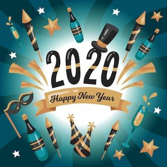 Conceito de plano de fundo do ano novo de design plano 2020
